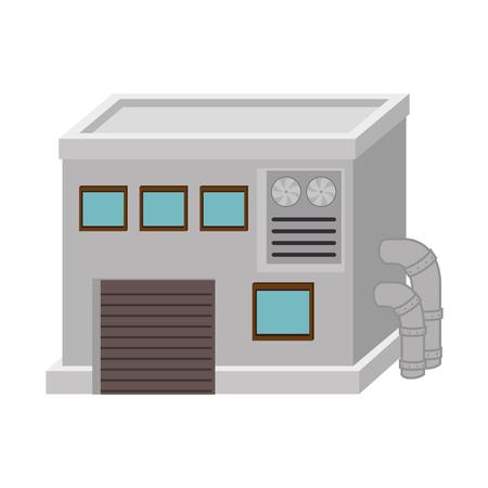 mecanica industrial: fábrica de la industria ilustración vectorial edificio de energía mecánica industrial aislada