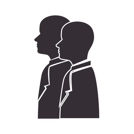 man profile: profile man person side silhouette connection corporate vector illustration isolted