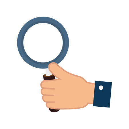 examine: lupe magnifying glass hand search explore instrument focus examine vector illustration isolated Illustration