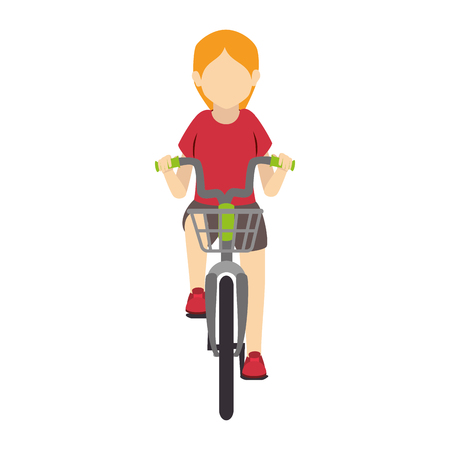 bike ride girl lady bicycle fun healthy wheels urban vehicle vector illustration isolated