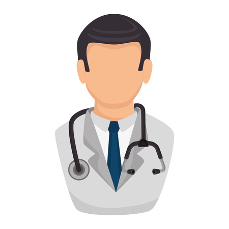 outpatient: medic medical glasses doctor stethoscope occupation work profession uniform vector illustration isolated