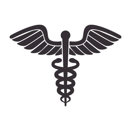serpents: medical symbol caduceus snake medicine health serpents vector illustration isolated Illustration