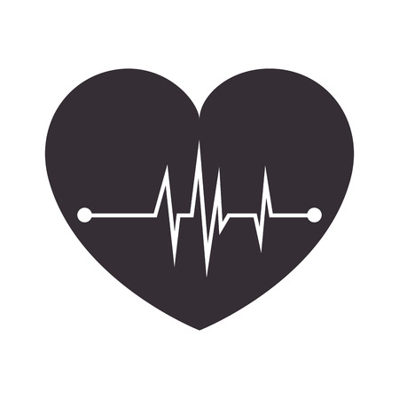 pulsating: cardiology heart medicine symbol chart pulsating medic vector illustration isolated