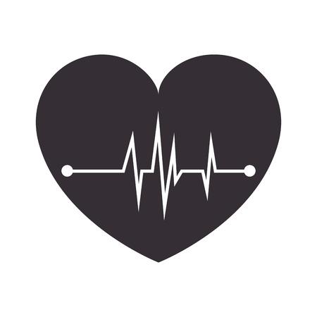 cardioid: corazón cardiología símbolo de la medicina trazar pulsante ilustración vectorial aislado médico Vectores