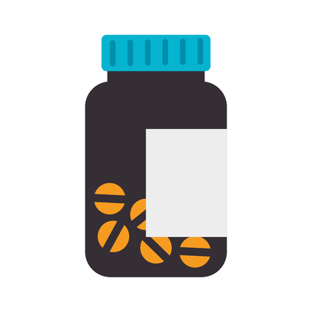 medicament: bottle prescription pills drug medicine container medicament vector illustration isolated