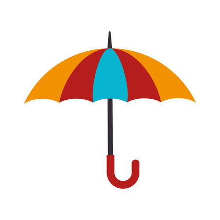umbrella striped color handle rain open weather vector illustration isolated Illustration