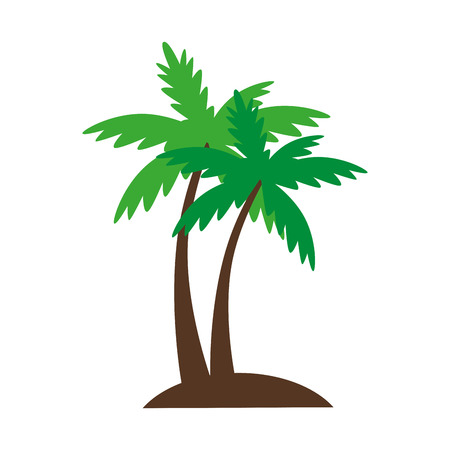 palmtree: palm summer natural sand beach sea single palmtree vector