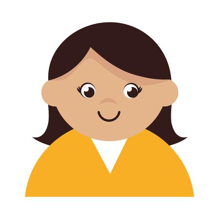 woman girl female person straight hair  face head human vector illustration isolated Illustration