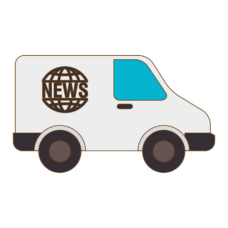 news van: news van vehicle journalism  press report connection reportage vector illustration isolated