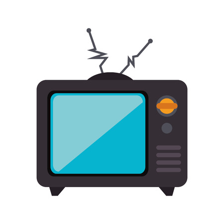 tv retro: old tv retro antenna technology device vintage channel vector illustration isolated