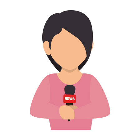 spokesperson: reporter women live transmission microphone journalist report press vector illustration isolated
