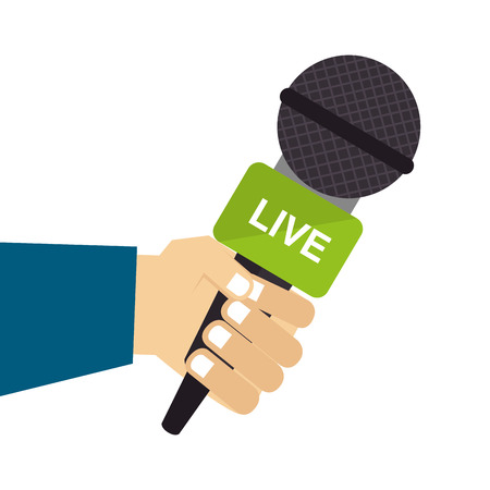 live microphone report press journalism reporter hand vector illustration isolated Illustration