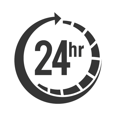 24 hour: 24 hour service open strippes arrow time center call vector illustration isolated