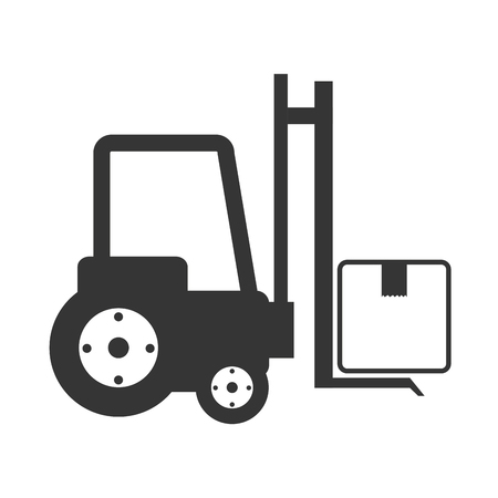 montacargas: lift truck fork cargo hydraulic machine industrial vector illustration isolated