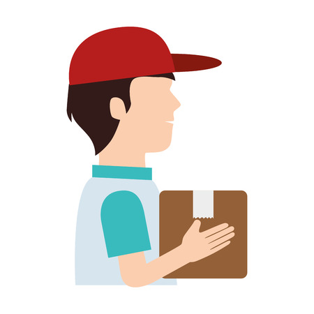 work crate: man delivery box hat pictogram dispatch service person vector illustration isolated