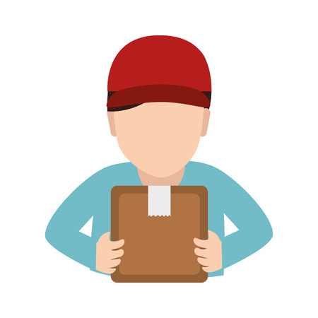 dispatch: man delivery box hat pictogram dispatch service person vector illustration isolated