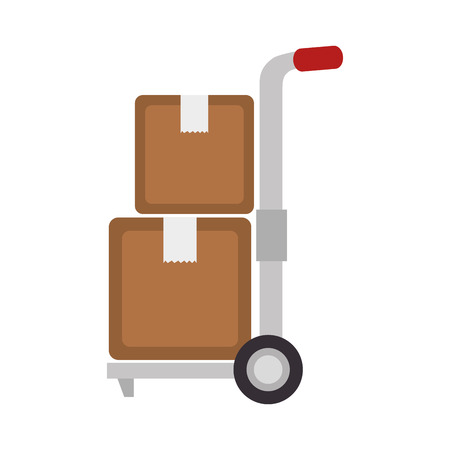 dolly: handtruck box delivery transportation wheel top arrow pack cargo vector illustration isolated