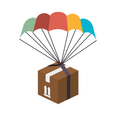 box parachute celebration gif rcolors present event vector illustration isolated