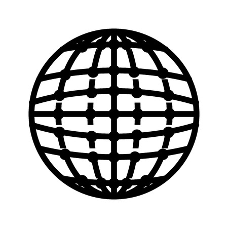 picto: global icon globe connection network worldwide map corporation vector illustration isolated