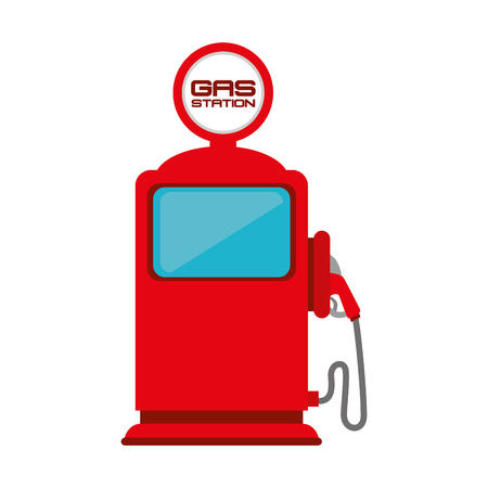 gas gauge: gas pump station nozzle car vehicle industrial fuel auto vector illustration isolated