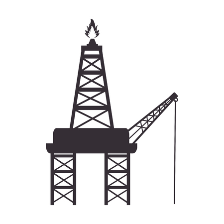 refinery: tower flame industry petroleum refinery fire fuel vector illustration isolated Illustration