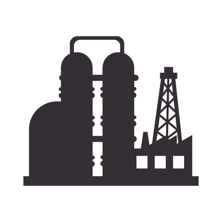 industry icons: plant chemistry tower pipe engineering distillery factory structure industry vector illustration isolated