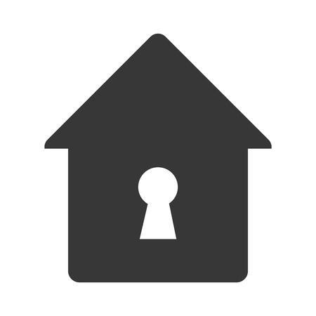 safeguard: lock house home hole key security safety safeguard object closed vector illustration isolated Illustration