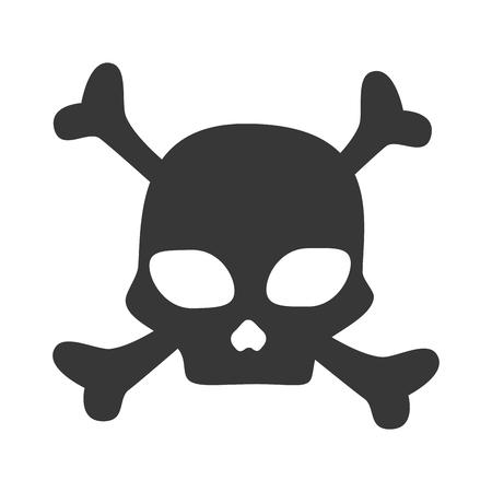 noxious: skull caution danger bones symbol warning toxic vector illustration isolated Illustration