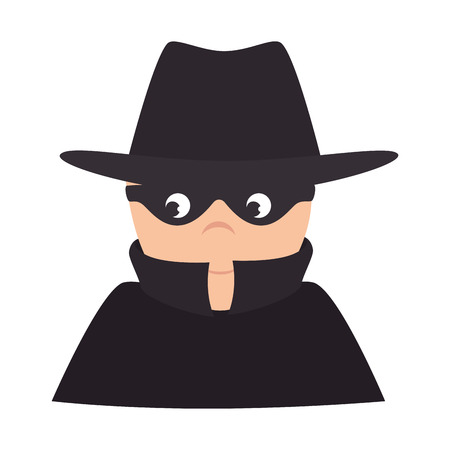 covering eyes: thief robber hat mask black clothes male man vector illustration isolated Stock Photo