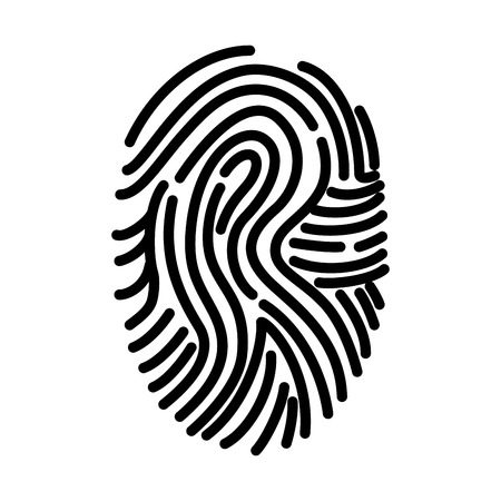 dactylogram: fingerprint finger human person id biometric ink personal vector illustration isolated