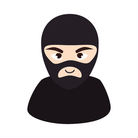 covering eyes: thief robber mask black clothes male man vector illustration isolated