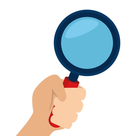 examine: lupe magnifying glass hand search explore instrument focus examine vector Illustration