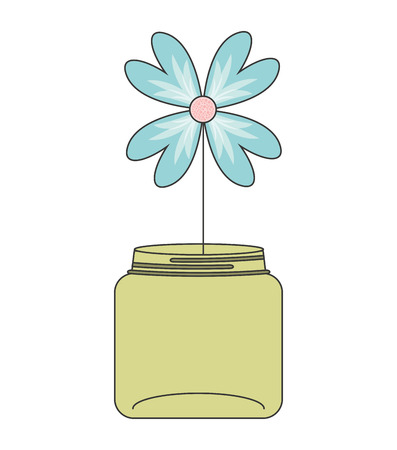 mason: mason jar with flower deoration vector illustration design