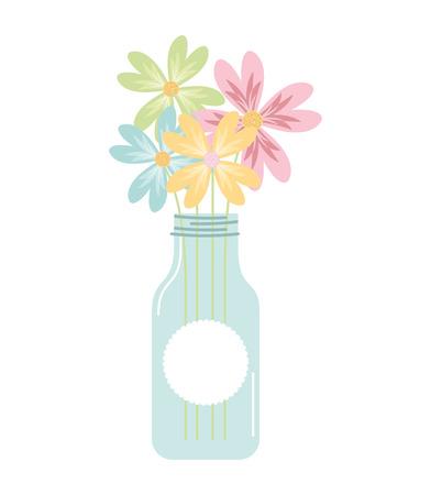 mason jar with flower deoration vector illustration design