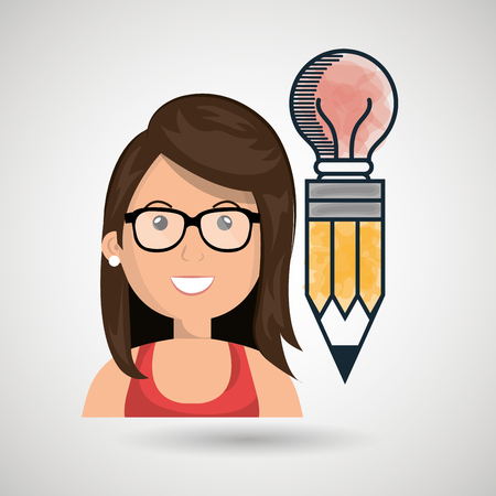 woman young idea icon vector illustration graphic Illustration