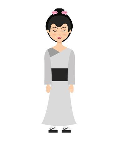 geisha: geisha japan girl isolated vector illustration design Illustration