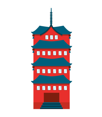 japanese temple: building temple japanese icon vector illustration design