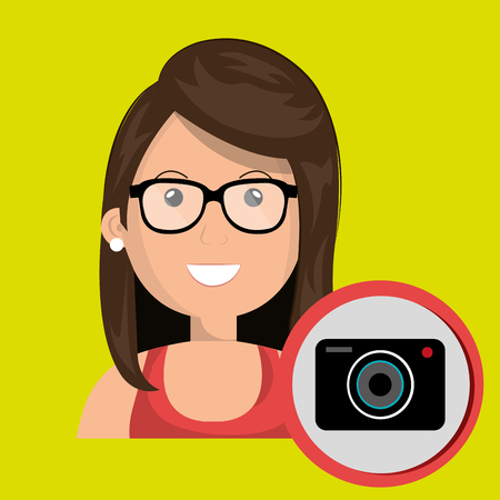 photo tools: woman camera photography icon vector illustration gra