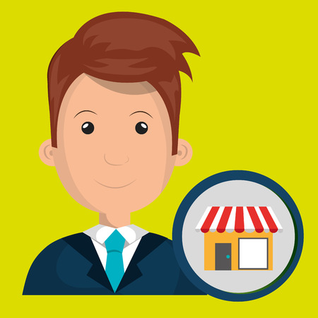 checkout counter: man store market icon vector illustration graphic Illustration
