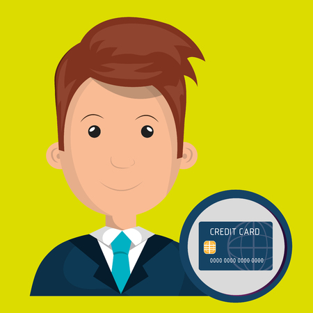 man credit card money vector illustration graphic