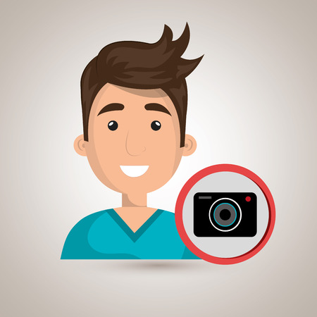 photo tools: man camera photography icon vector illustration gra