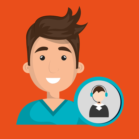 computer operator: man call center attention vector illustration graphic