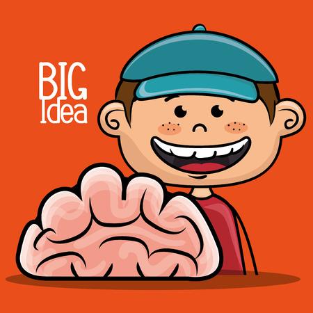 intelligent: boy idea intelligent vector illustration graphic
