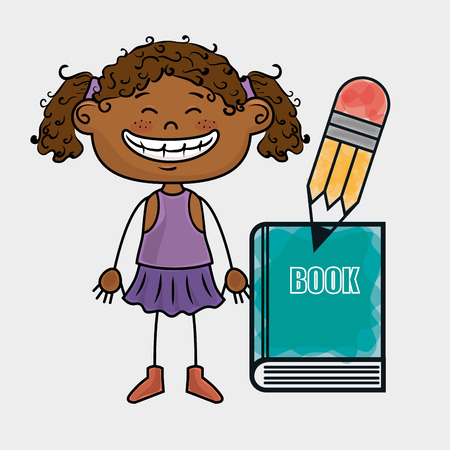curly tail: girl student book pencil vector illustration graphic Illustration