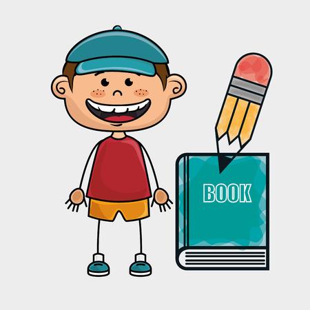 niño parado: boy student book pencil vector illustration graphic
