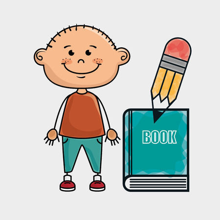 boy student book pencil vector illustration graphic