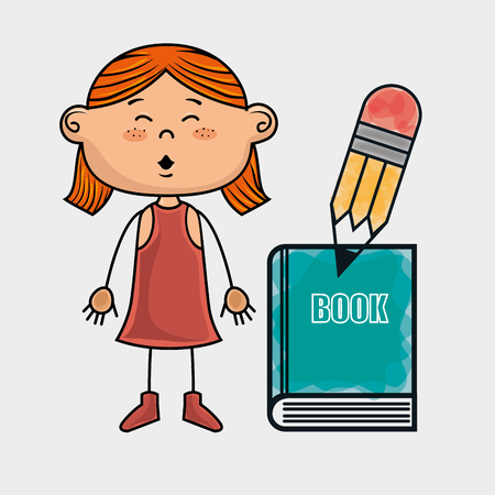 redhair: girl student book pencil vector illustration graphic Illustration