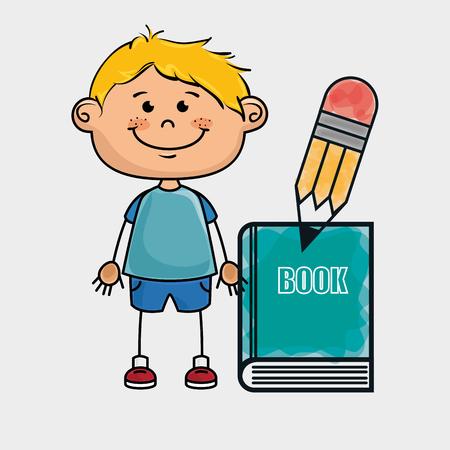 niño parado: Estudiante del muchacho del lápiz libro ejemplo gráfico del vector Vectores