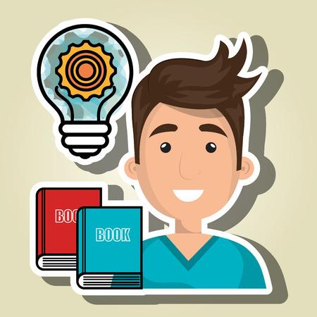 light brown hair: man books idea icon vector illustration graphic Illustration