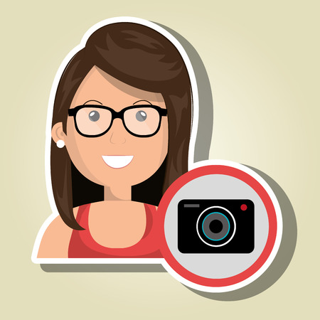 woman camera photography icon vector illustration